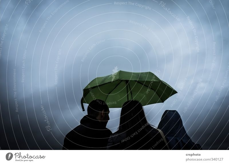 bad weather Human being Masculine Friendship 3 Town To talk Moody Regen County Umbrellas & Shades Green Clouds Rain Bad weather Colour photo Exterior shot