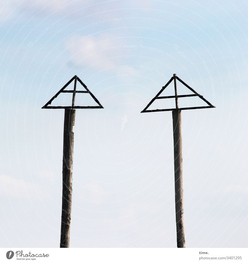 Riddles of Modernity Manmade structures Sky Whimsical Architecture Carrier at the same time in common Identical togetherness wood Pole triangle two Crucifix