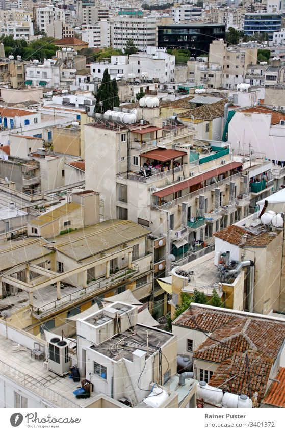 View over the roofs and skyline of Nicosia, Cyprus Roof rooftop Skyline houses house roof Mediterranean Exterior shot Deserted Town Day Vantage point