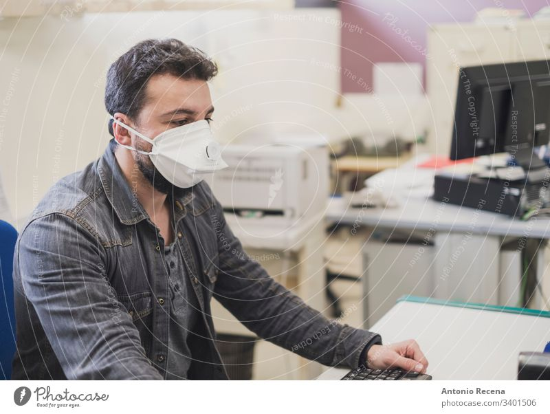 with medical mask, allergy or illness image office worker clerk man file real people latin attractive white mouse adult telephone records male 30s bearded