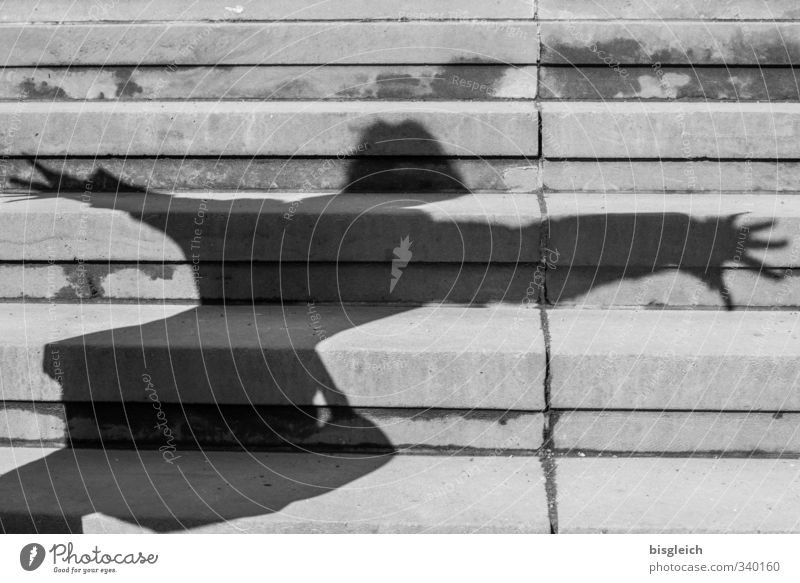 stair shadow Human being Feminine 1 Dance Stairs Shadow Flying Gray Black & white photo Exterior shot Deserted Day