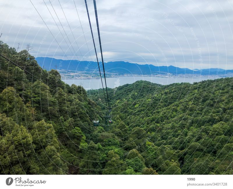 Going down the cable car Cable car Grenoble Nature Gondola Rope Mountain Wire cable Sky Upward Downward Clouds