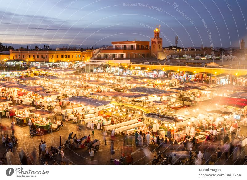 Jamaa el Fna market square in sunset, Marrakesh, Morocco, north Africa. marrakesh morocco marrakech africa jamaa fna crowd african jemaa business travel tourism