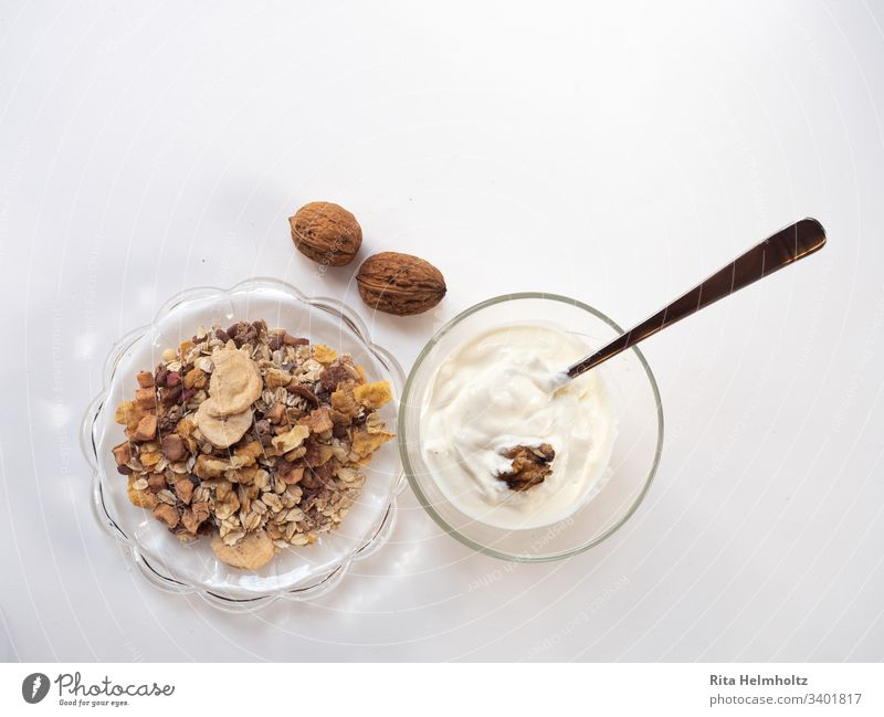 Breakfast with muesli and yoghurt have breakfast Cereal Yoghurt Delicious salubriously Fresh Glass Diat Snack Dessert White Healthy Healthy Eating Nutrition