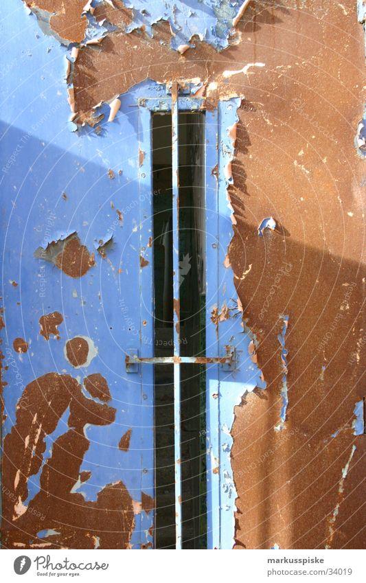 steel door Steel Factory Building Ruin Decline Rust Industry Door Work of art Share earth colours Blue Shadow Sun Lighting Loneliness Varnish as of
