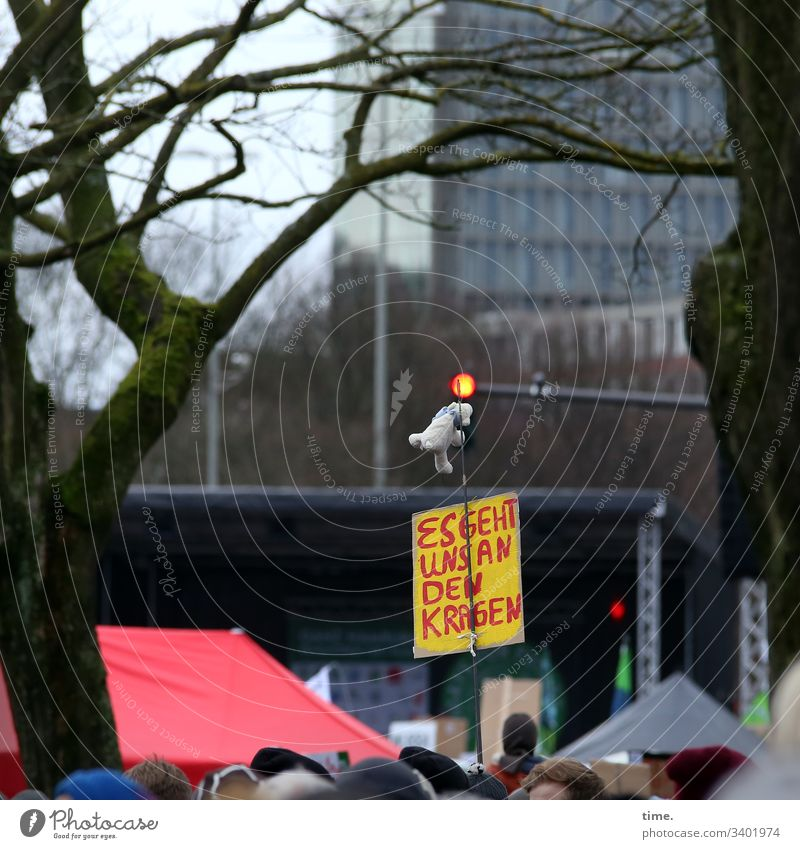 Youth Wisdom Demonstration protest Climate protection Tree Poster material children's toy Hamburg High-rise daylight Stage Crowd of people dunning