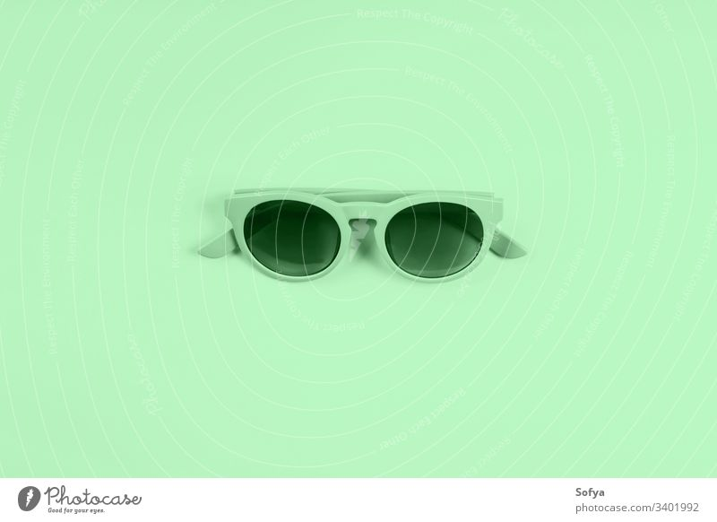 Mint green sun glasses. Color 2020 flat lay color fashion neo mint summer trendy light green design mentol spring modern springtime nature neo green green mint