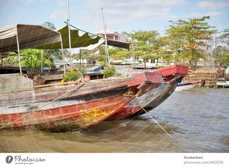Two red boats against a green background on a floating market in the Mekong Delta, Vietnam Water Markets Red Watercraft Colour photo Exterior shot Asia