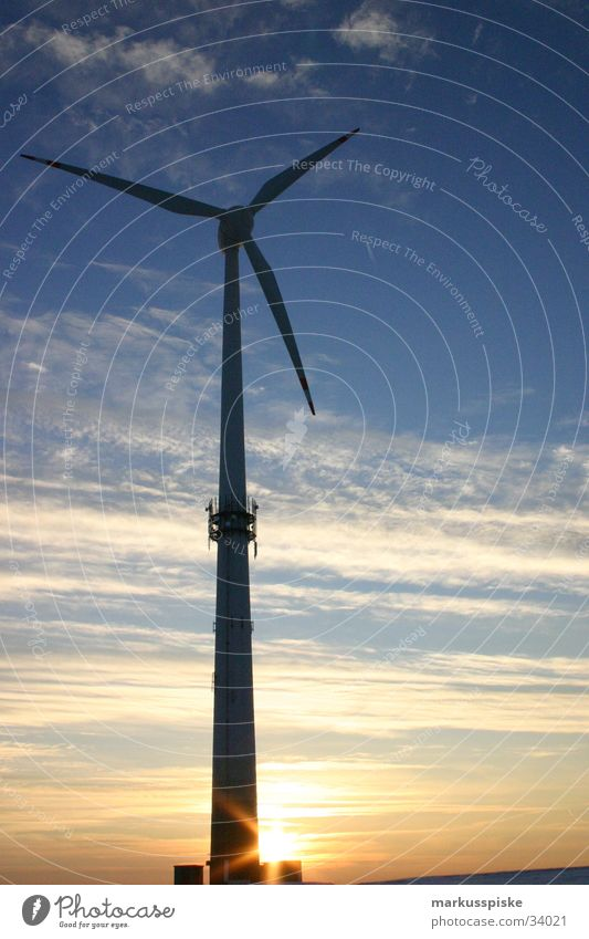 Sky Sun Clouds Lighting Environment Industry Energy industry Electricity Clean Delicate Wind energy plant Alternative