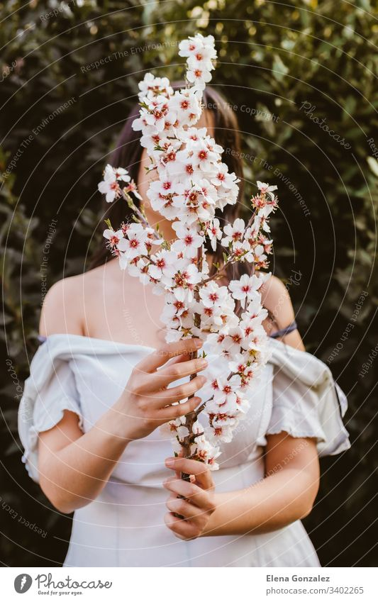 Unrecognizable woman hand holding a branch of almond blossoms. Amazing beginning of spring. Selective focus. Femininity, feminist and feminine concept. fingers