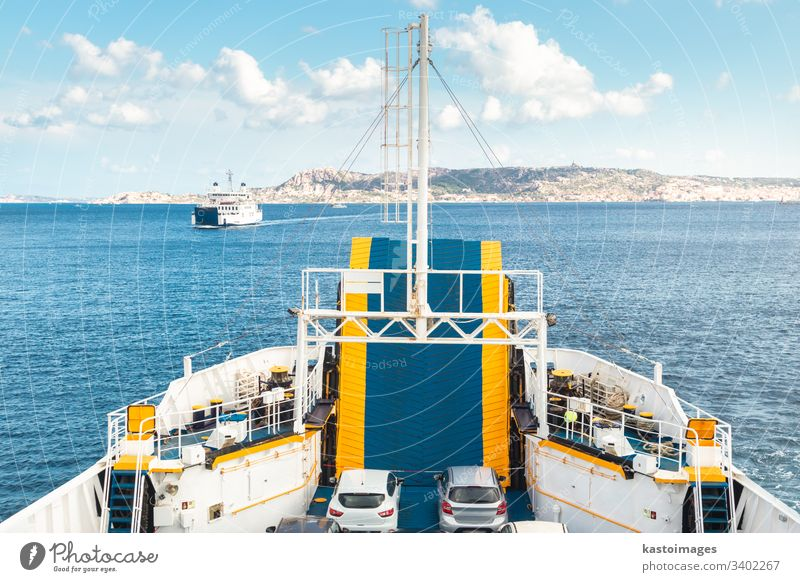 Ferry boat ship sailing between Palau and La Maddalena town, Sardinia, Italy. ferry sea vessel sky summer transportation travel vacation water cruise passenger