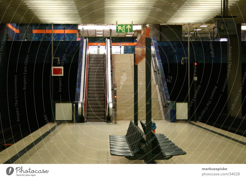 subway station Underground Munich Movement Empty Loneliness Transport Station Logistics Bench sezten Relaxation