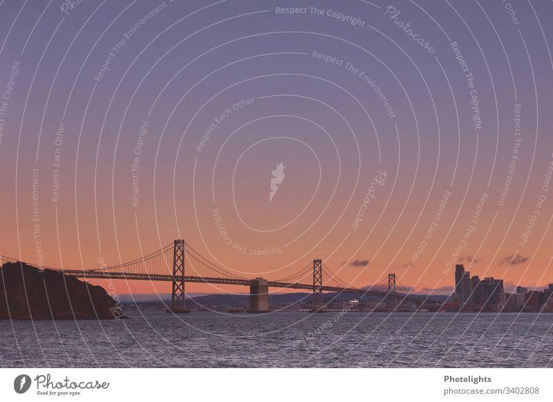 Oakland Bay Bridge - San Francisco Twilight Evening Deserted Exterior shot Suspension bridge Colour photo yerba buena island San Francisco bay USA California