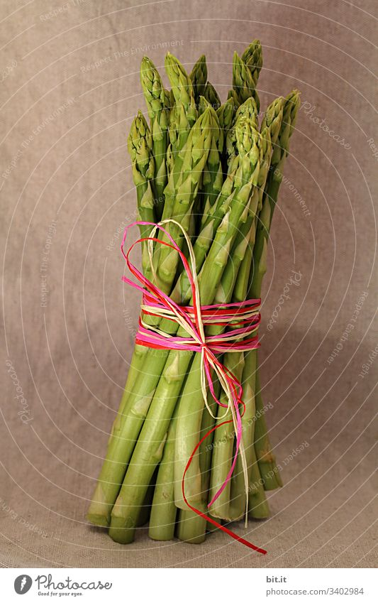 Green asparagus in bunch, held with a colourful ribbon with style, in front of a brown wall at the healthy asparagus season in spring. Asparagus green asparagus
