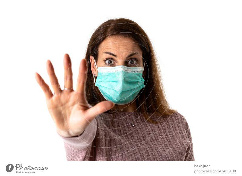 frightened woman wearing a medical mask allergic Coronavirus mask Woman medicine Mask Face flu Virus Epidemic Healthy coronavirus Protection Infection Influenza