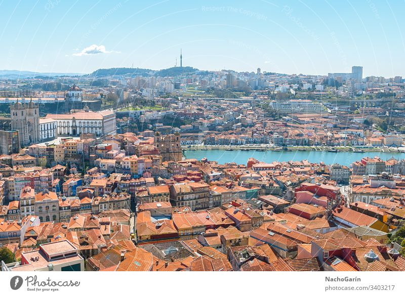 Aerial view of old city of Porto, Portugal porto portugal town douro aerial europe river cityscape historic portuguese oporto travel tourism colorful