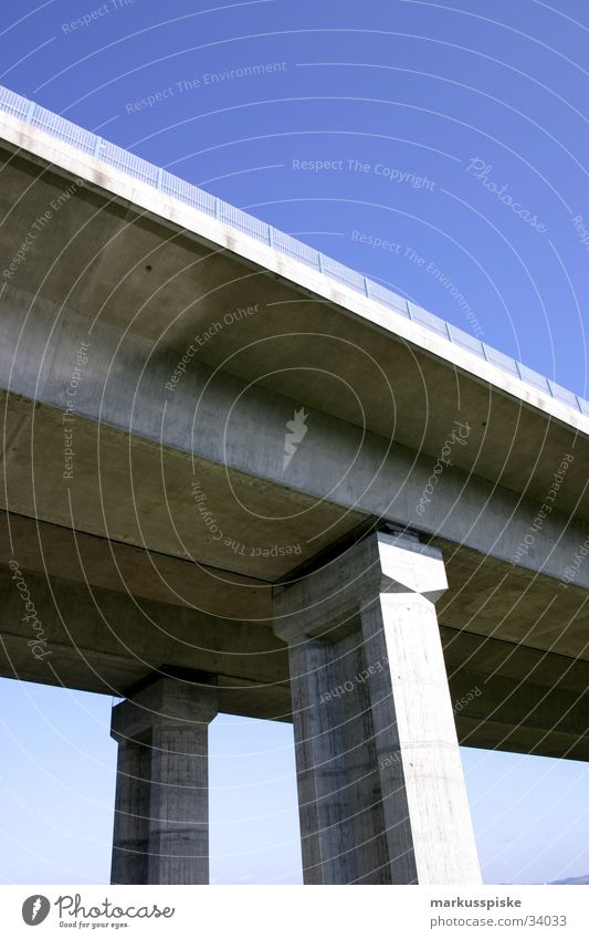 bridge pillar A9 Bridge pier Concrete Worm's-eye view Highway Manmade structures Column Sky Blue Architecture
