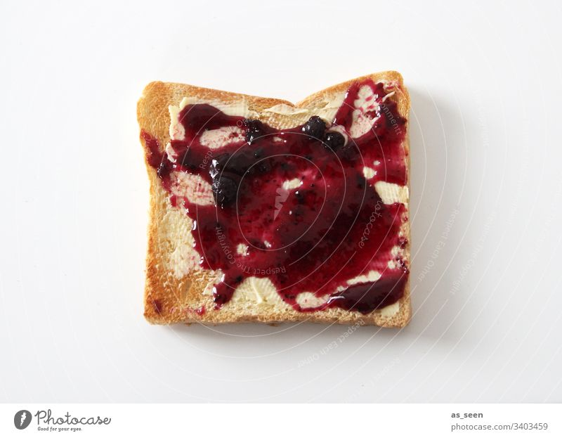 Toast with jam Slice Food Breakfast Nutrition Bread Colour photo Delicious Interior shot Deserted Vegetarian diet Day Close-up Appetite Fresh Copy Space bottom