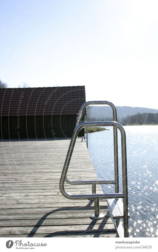 into the lake... Lake Footbridge Boathouse Ocean Summer Vacation & Travel Water Sun Sky Metal Star (Symbol) Coast Mountain