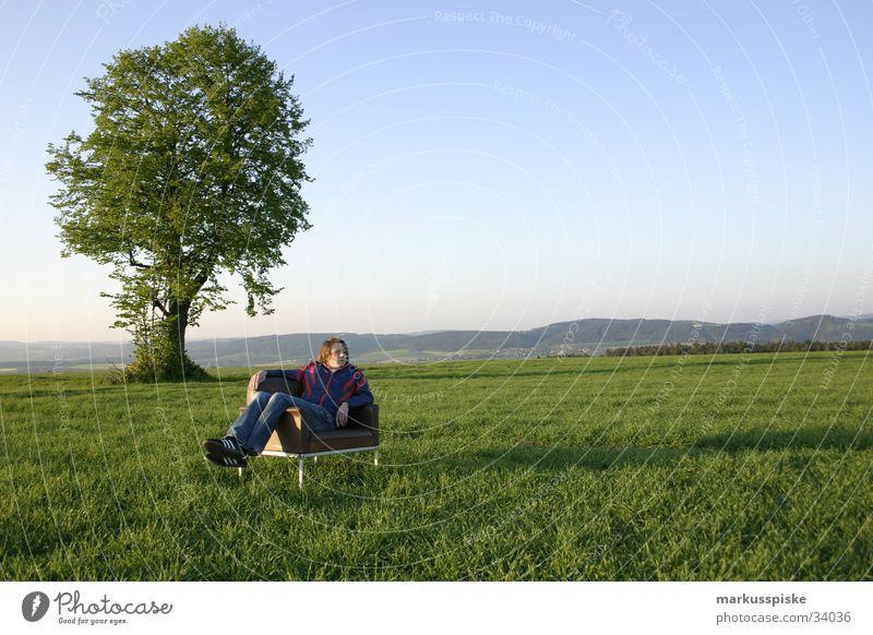 Sky Man Blue Green Tree Loneliness Relaxation Meadow Landscape Style Think Retro Jeans Meditation Leather Freak