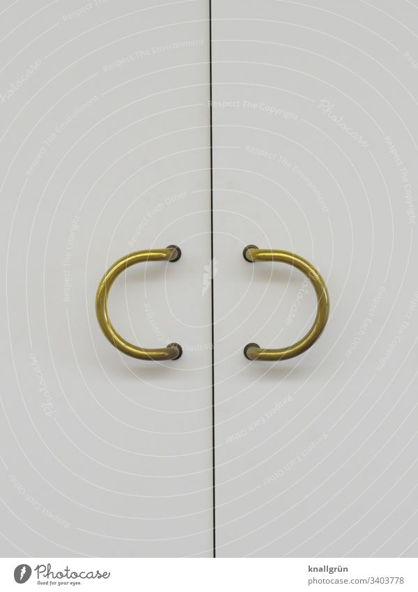 White double door with two semicircular golden door handles Door Front door Entrance Line Closed Deserted Colour photo Door handle Wood Metal