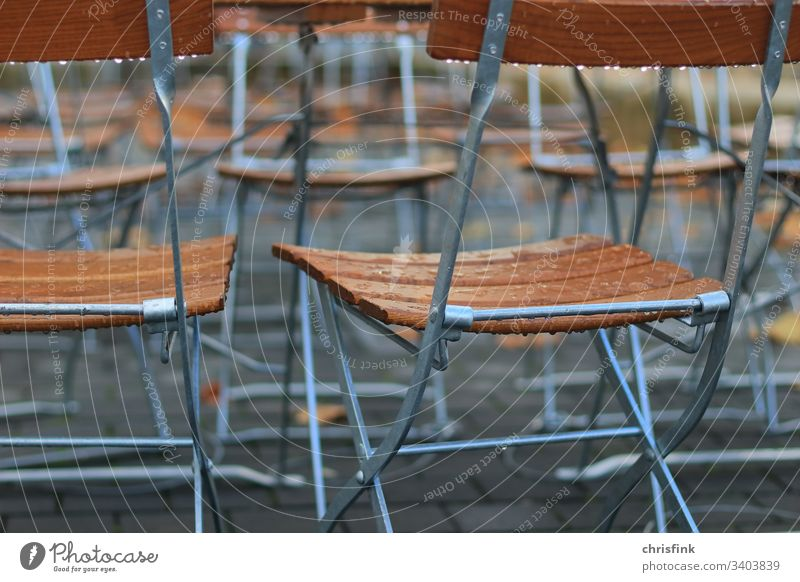Folding chairs in the restaurant in the rain Chair Restaurant Rain Roadhouse Sit Seat Eating Drinking Break raindrops Drop Wet Damp Spring Autumn Water Close-up