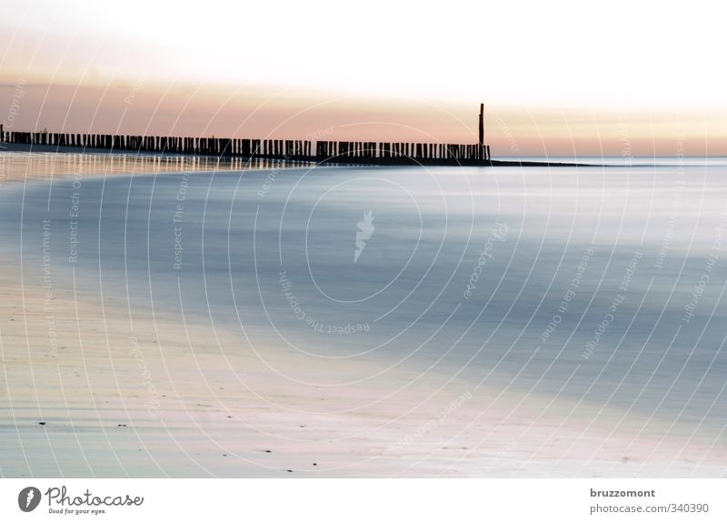 Noordzee Elements Water Coast Beach Ocean North Sea North Sea beach North Sea coast Sand Blue Pink Cool (slang) Break water Abstract Deserted Pastel tone