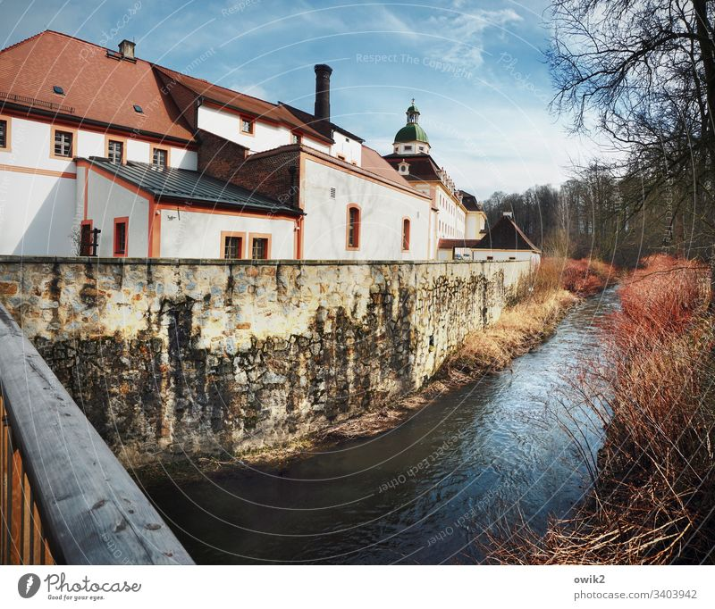 Old monastery on the Neiße Monastery Saxony Silesia Neisse Manmade structures abbey Church Church spire River Border Eastern Germany border river Bridge
