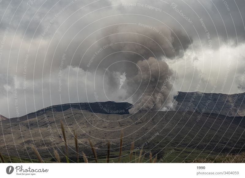 Active Japanese Volcano Travel photography Mountain Deserted Smoke cloud active volcano Asia Landscape Day