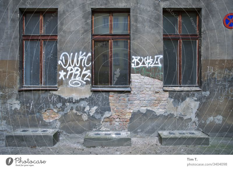 Three windows to the courtyard Window Architecture House (Residential Structure) Facade Deserted Exterior shot Wall (barrier) Colour photo Town Old town