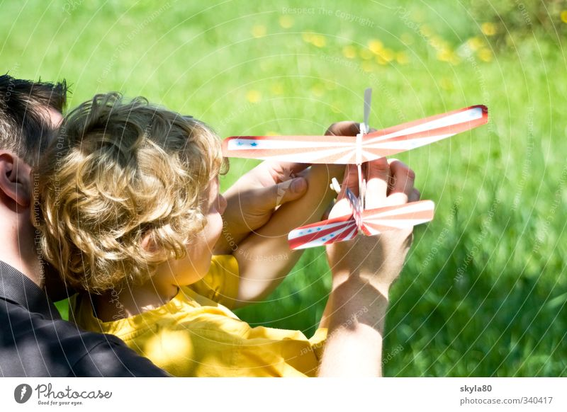 jump-start Man Child Father Boy (child) Snapshot Hair and hairstyles Blonde Curl Dream Sun Playing Airplane Sailplane Sunlight Contentment Family & Relations
