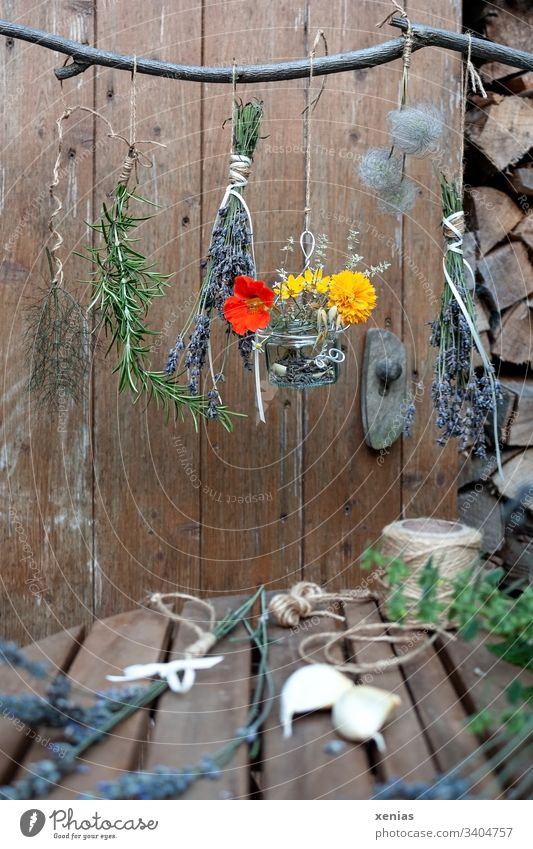 Herbs hang on the branch to dry herbs Dry Rosemary Lavender Nasturtium plants Herbs and spices Garlic String Garden Marigold Wood wooden background