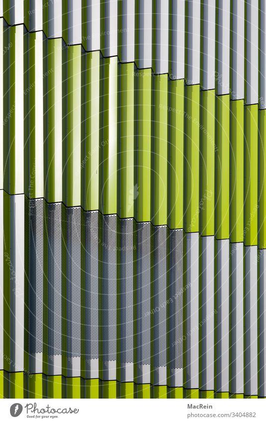 façade slats Facade aluminium sheet aluminium sheets Cladding perpendicular Green Architecture nobody Copy Space