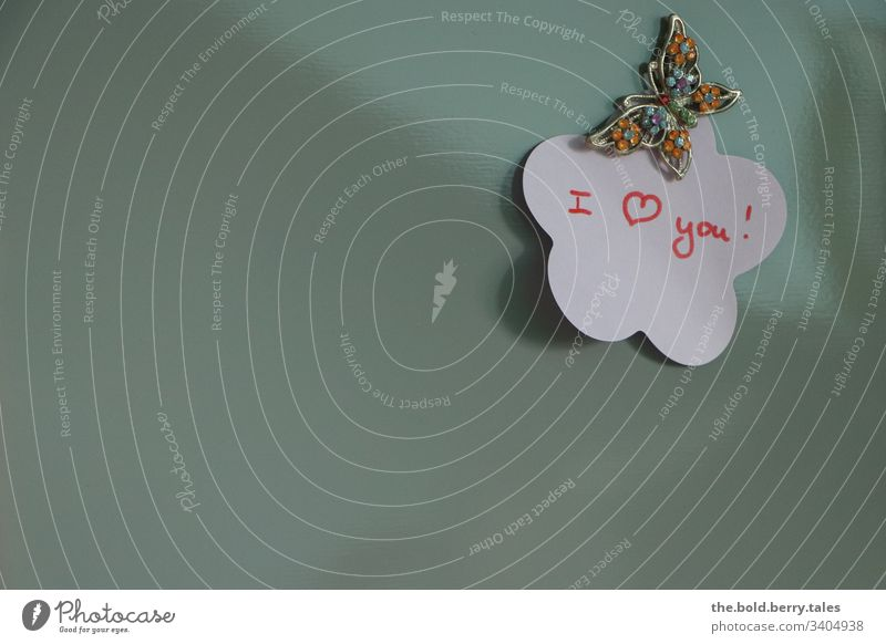 I Love You Display of affection confession of love token of love vowed to love i love you pinboard post-it Post-it note Butterfly Emotions Colour photo