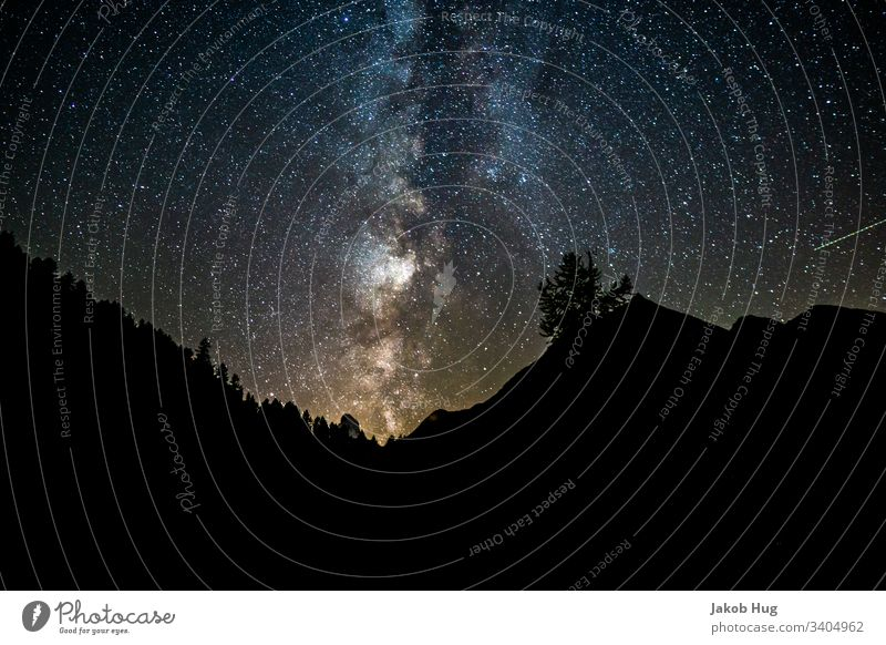 Milky Way in the Swiss night sky in the Alps Milky way Starry sky Canopy of stars Starlit Sky Galaxy universe Universe Mountain Switzerland Germany Austria