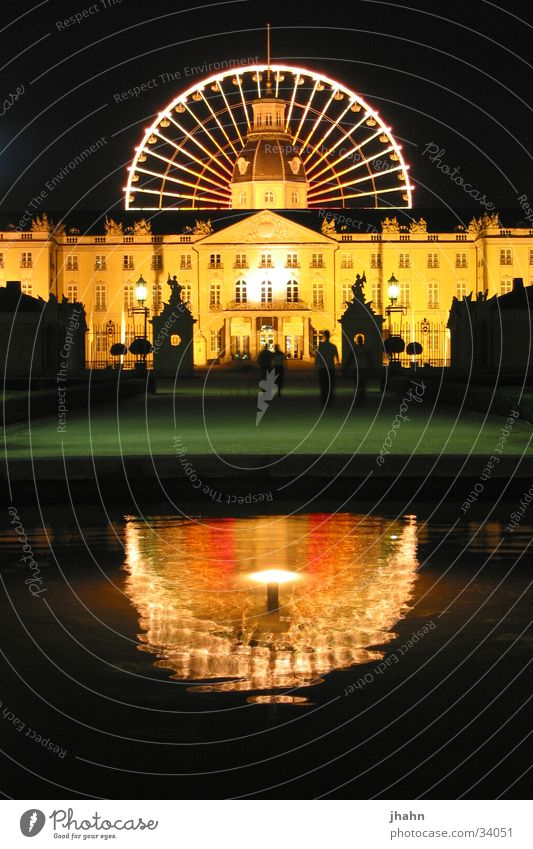 Karlsruhe Castle with Ferris Wheel at Night Ferris wheel Architecture 2002