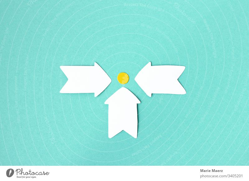 Together to the goal | Three arrows point from different directions to a common goal Arrow crafted Paper Abstract Neutral Background Copy Space Colour photo
