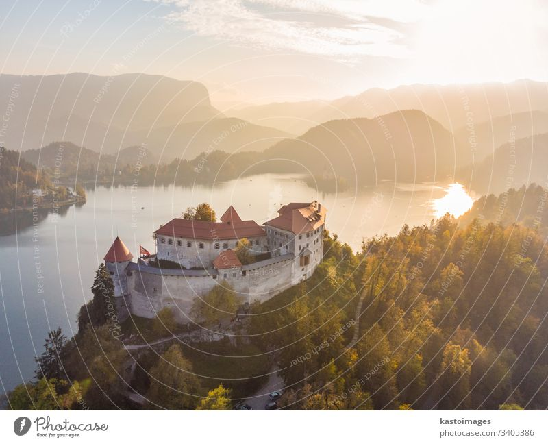 Medieval castle on Bled lake in Slovenia in autumn. bled slovenia landmark landscape europe travel alps nature slovenian hill mountain fortress island church