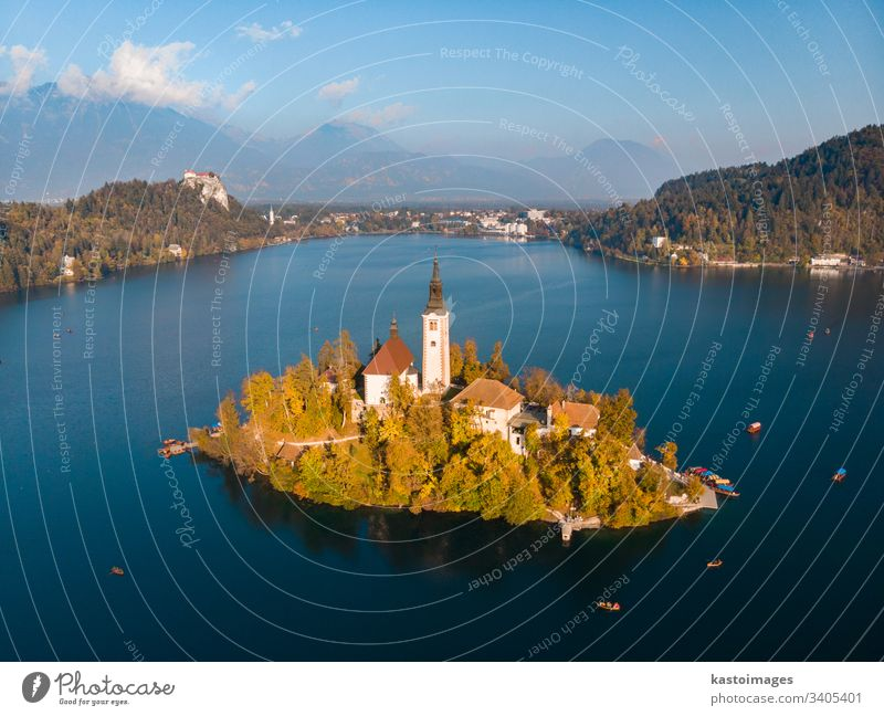 Aerial view of Bled island on lake Bled, and Bled castle and mountains in background, Slovenia. slovenia bled scenic landmark church julian water scenery europe