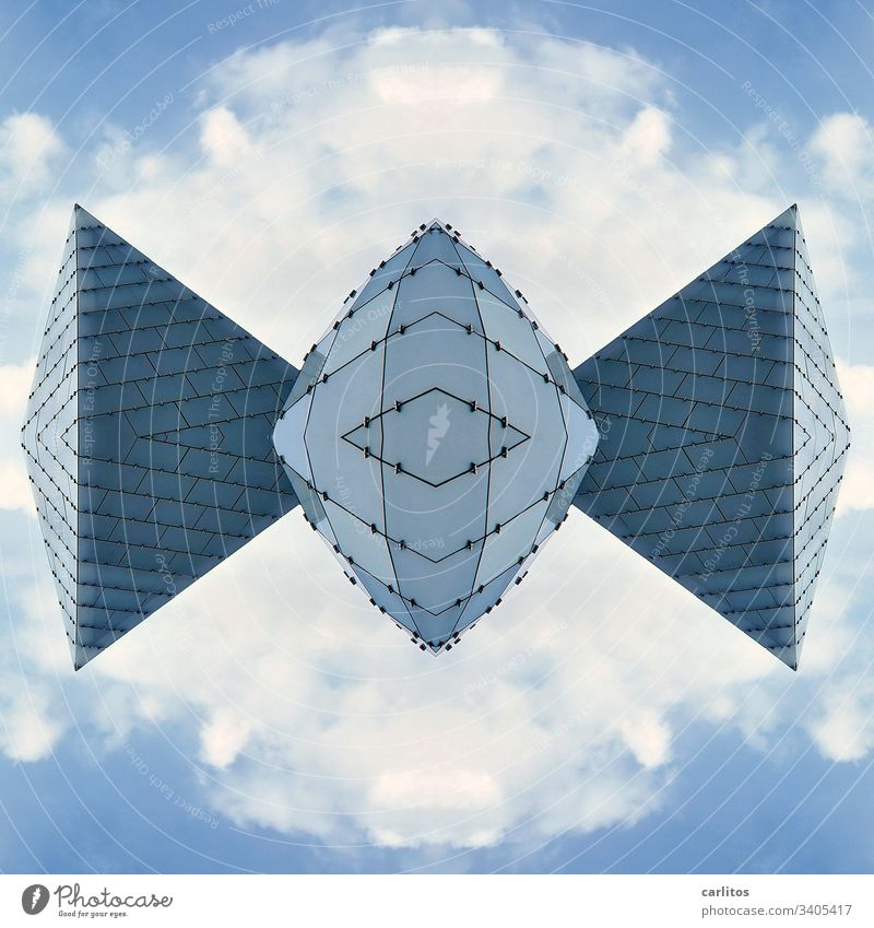 Bat made of glass Glass Sphere Pyramid Composing Glass plates Fassada Blue Gray Sky Clouds Image editing Architecture Building Mirror