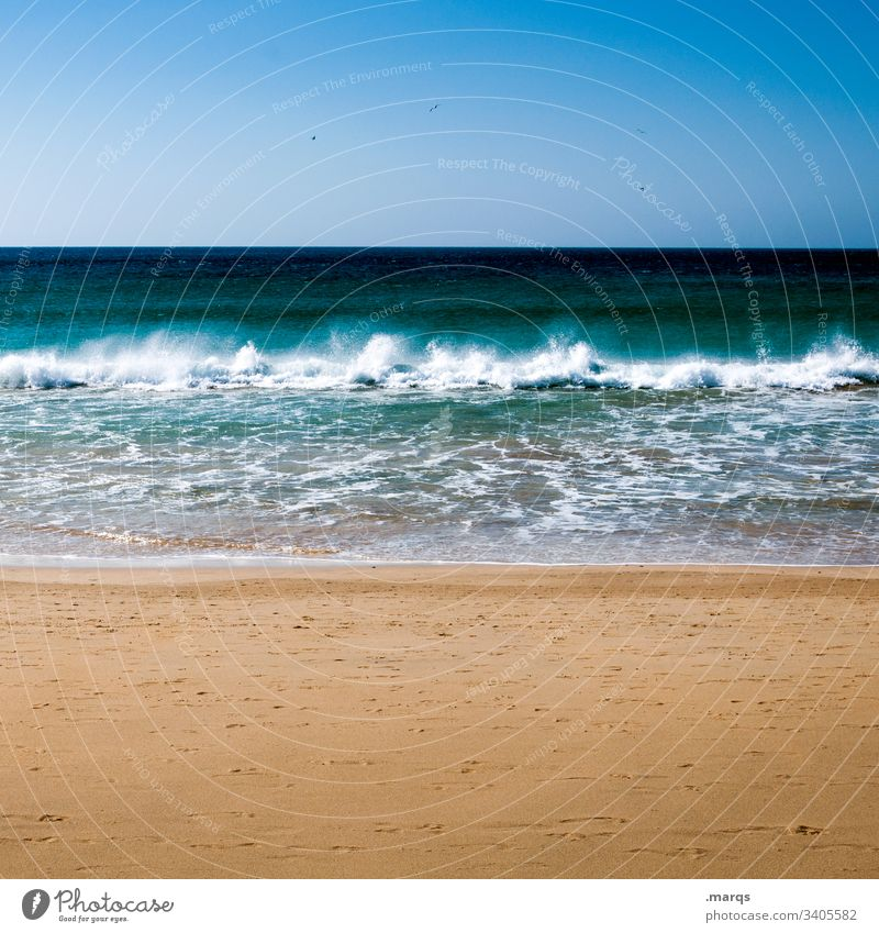 ocean Vacation & Travel Far-off places Summer Nature Horizon Beach Relaxation Sky Sand Beautiful weather Cloudless sky Summer vacation Tourism Freedom Waves
