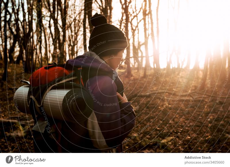 Backpacker trekking in autumn forest backpacker hiker walk adventure nature journey trip travel explore person environment wanderlust freedom holiday