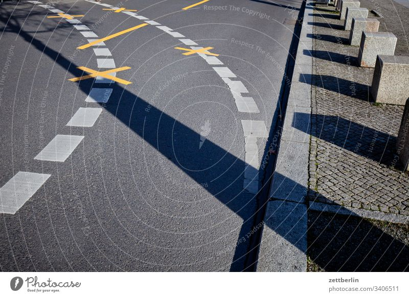 curve Turn off Asphalt Highway on the outside Berlin Charlottenburg Corner Lane markings spring Spring Capital city Clue edge Curve Line Left Middle navi
