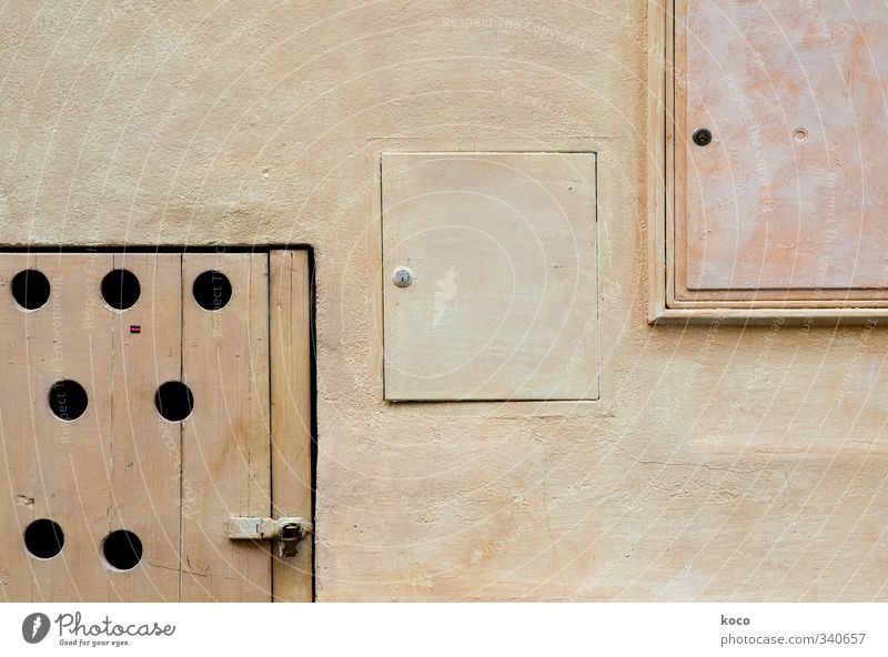 three squares House (Residential Structure) Wall (barrier) Wall (building) Facade Door Lock Hollow Circle Rectangle Concrete Wood Sharp-edged Simple Round