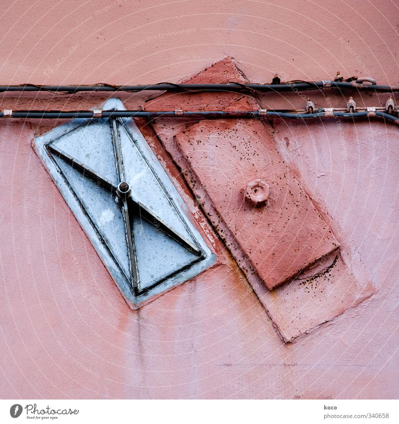 slanting position Wall (barrier) Wall (building) Facade Cable Tin Stone Concrete Metal Line Rectangle Old Sharp-edged Simple Gray Pink Red Black Silver Loyal