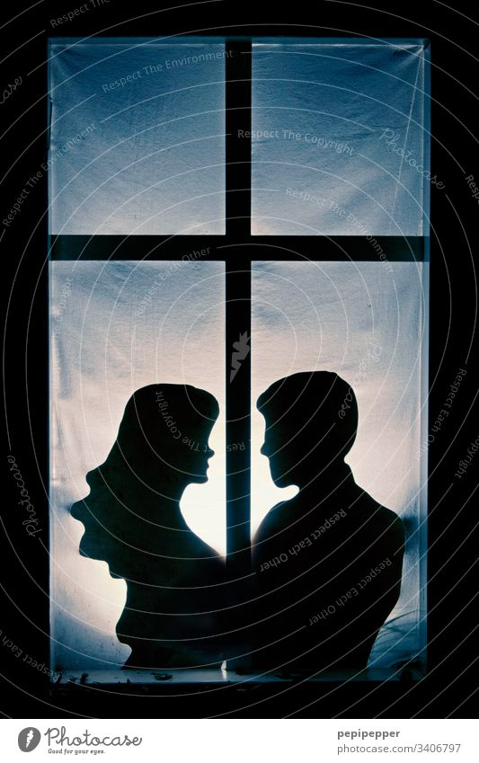 silhouette, young couple at the window Couple Lovers Window Happy Infatuation Relationship Affection Related Harmonious Trust Man Woman Shadow Human being
