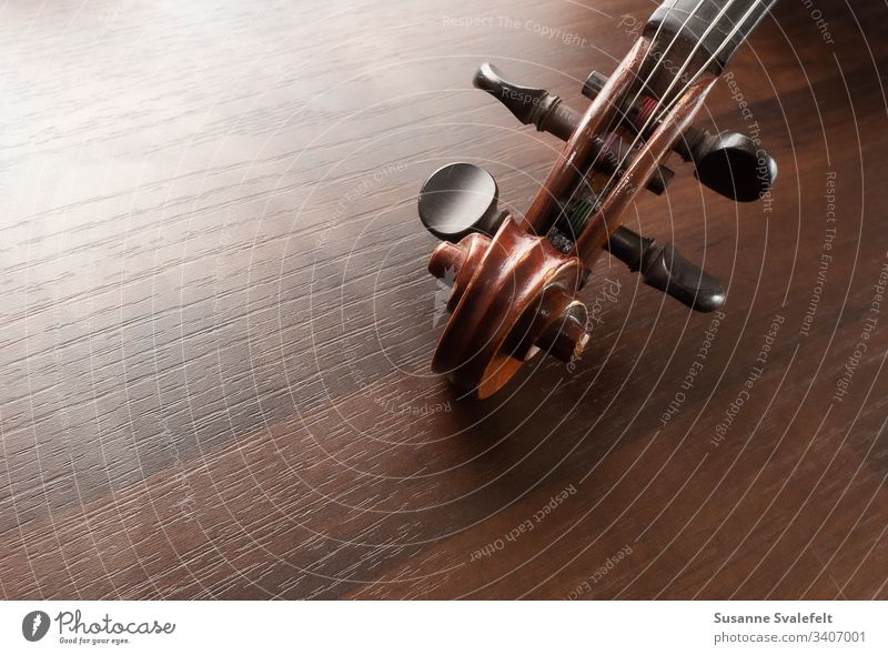 Violin or fiddle peghead on table Music Colour photo Fiddle Peghead Tuning pegs Musical instrument String instrument Stringed instrument Wood