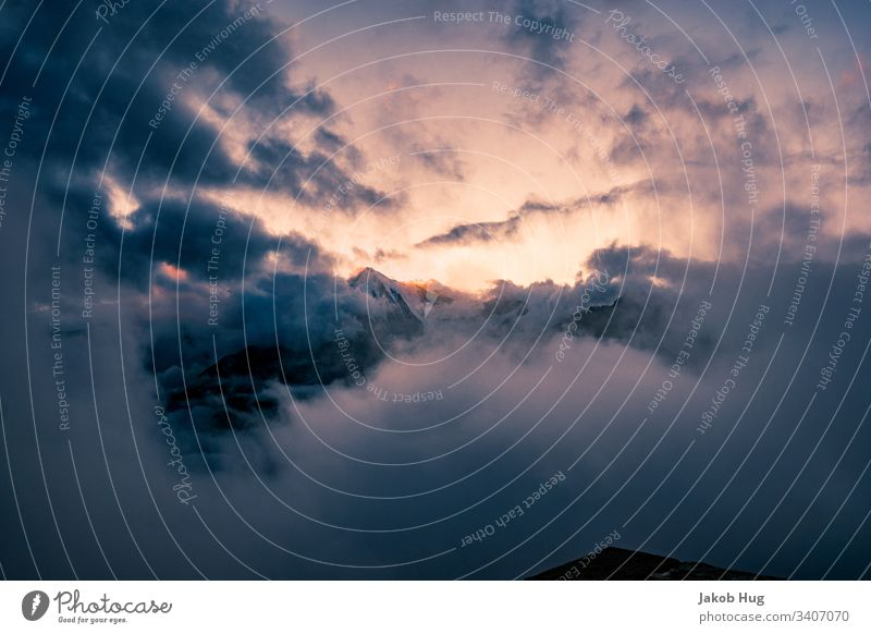 Sunset in the Swiss Alps with view of the Weisshorn Peak Mountain Mountaineering Landscape Climbing Sky Nature Blue sunset Snow Sunrise Panorama (View) Morning