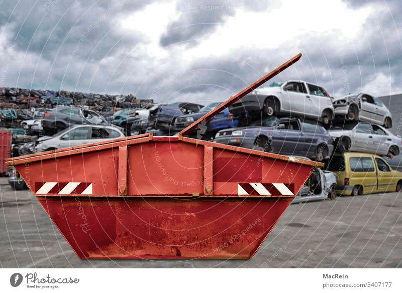 Scrap metal container Scrapyard Car dump scrap metal Metal containre Dispose of raw materials junkyard Scrap containers recycling yard Recycling