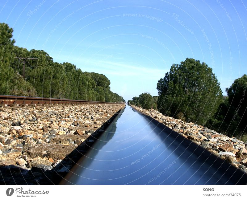 Calm Loneliness Metal Horizon Transport Perspective Railroad tracks Spain